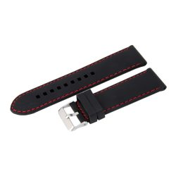 Műanyag szíj, fekete színű, 24 mm (piros varrással)
