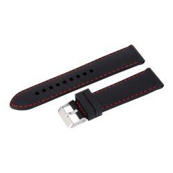 Műanyag szíj, fekete színű, 22 mm (piros varrással)