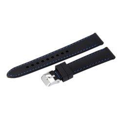 Műanyag szíj, fekete színű, 18 mm (kék varrással)